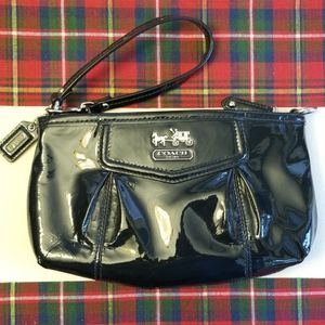 Coach patent leather navy clutch/wristlet